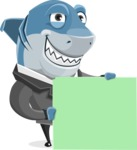 Shark Businessman Cartoon Vector Character AKA Sharky Razorsmile - Sign 8