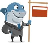 Shark Businessman Cartoon Vector Character AKA Sharky Razorsmile - Sign 9
