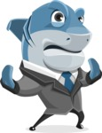 Shark Businessman Cartoon Vector Character AKA Sharky Razorsmile - Stop 2
