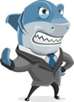 Shark Businessman Cartoon Vector Character AKA Sharky Razorsmile - Stop