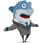 Shark Businessman Cartoon Vector Character AKA Sharky Razorsmile - Stunned