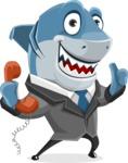 Shark Businessman Cartoon Vector Character AKA Sharky Razorsmile - Talking on Phone