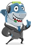 Shark Businessman Cartoon Vector Character AKA Sharky Razorsmile - Talking with Headphones