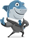 Shark Businessman Cartoon Vector Character AKA Sharky Razorsmile - Thumbs Up