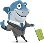 Shark Businessman Cartoon Vector Character AKA Sharky Razorsmile - Traveling with Suitcase