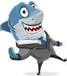 Shark Businessman Cartoon Vector Character AKA Sharky Razorsmile - Wave