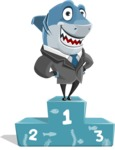 Shark Businessman Cartoon Vector Character AKA Sharky Razorsmile - Winning 1st Place