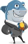 Shark Businessman Cartoon Vector Character AKA Sharky Razorsmile - Winning Prize for Good Shark