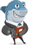 Shark Businessman Cartoon Vector Character AKA Sharky Razorsmile - With a Book and Smiling Face