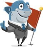 Shark Businessman Cartoon Vector Character AKA Sharky Razorsmile - With a Flag