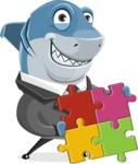Shark Businessman Cartoon Vector Character AKA Sharky Razorsmile - With a Puzzle