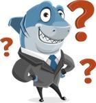 Shark Businessman Cartoon Vector Character AKA Sharky Razorsmile - With a Question