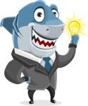 Shark Businessman Cartoon Vector Character AKA Sharky Razorsmile - With an Idea