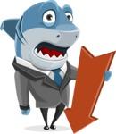 Shark Businessman Cartoon Vector Character AKA Sharky Razorsmile - With Arrow Going Down