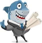 Shark Businessman Cartoon Vector Character AKA Sharky Razorsmile - With Business Plans