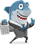 Shark Businessman Cartoon Vector Character AKA Sharky Razorsmile - With Calculator