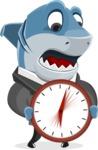 Shark Businessman Cartoon Vector Character AKA Sharky Razorsmile - With Clock