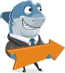 Shark Businessman Cartoon Vector Character AKA Sharky Razorsmile - With Forward Arrow