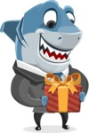 Shark Businessman Cartoon Vector Character AKA Sharky Razorsmile - With Gift Box