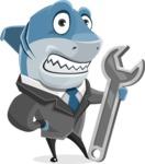 Shark Businessman Cartoon Vector Character AKA Sharky Razorsmile - With Repairing Tools - Wrench