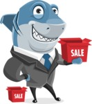 Shark Businessman Cartoon Vector Character AKA Sharky Razorsmile - With Sale Boxes