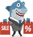 Shark Businessman Cartoon Vector Character AKA Sharky Razorsmile - With Shopping Bags