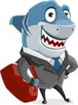 Shark Businessman Cartoon Vector Character AKA Sharky Razorsmile - With Suitcase