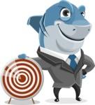 Shark Businessman Cartoon Vector Character AKA Sharky Razorsmile - With Target