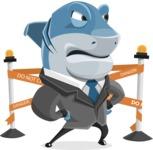 Shark Businessman Cartoon Vector Character AKA Sharky Razorsmile - With Under Construction Sign