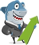 Shark Businessman Cartoon Vector Character AKA Sharky Razorsmile - With Up Arrow