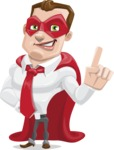 Business Hero Cartoon Vector Character AKA Corporate Steel - Attention