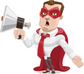 Business Hero Cartoon Vector Character AKA Corporate Steel - Loudspeaker