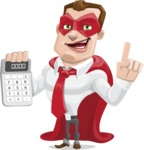 Business Hero Cartoon Vector Character AKA Corporate Steel - Calculator