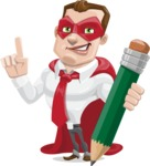 Business Hero Cartoon Vector Character AKA Corporate Steel - Pencil