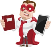 Business Hero Cartoon Vector Character AKA Corporate Steel - Book and iPad