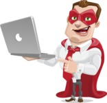 Business Hero Cartoon Vector Character AKA Corporate Steel - Laptop1