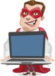 Business Hero Cartoon Vector Character AKA Corporate Steel - Laptop2