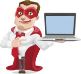 Business Hero Cartoon Vector Character AKA Corporate Steel - Laptop3