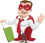 Business Hero Cartoon Vector Character AKA Corporate Steel - Travel1
