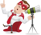 Business Hero Cartoon Vector Character AKA Corporate Steel - Telescope