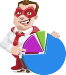 Business Hero Cartoon Vector Character AKA Corporate Steel - Chart