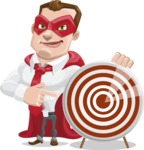 Business Hero Cartoon Vector Character AKA Corporate Steel - Target