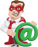Business Hero Cartoon Vector Character AKA Corporate Steel - Email