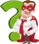 Business Hero Cartoon Vector Character AKA Corporate Steel - Question