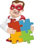 Business Hero Cartoon Vector Character AKA Corporate Steel - Puzzle