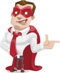 Business Hero Cartoon Vector Character AKA Corporate Steel - Point