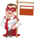 Business Hero Cartoon Vector Character AKA Corporate Steel - Sign9
