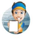 Charming Courier Guy Cartoon Vector Character AKA Tony On-track - Shape 2