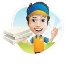 Charming Courier Guy Cartoon Vector Character AKA Tony On-track - Shape 3