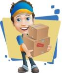 Charming Courier Guy Cartoon Vector Character AKA Tony On-track - Shape 5